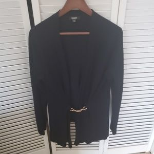 NAVY CARDIGAN WITH GOLD CLASP